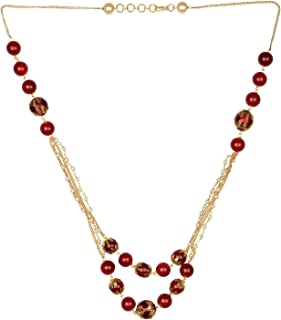 Pearl Chain Multi Layered Necklace Indian 14 K Gold Plated Red Faux Ruby Beads Strand Fashion Costume Jewelry