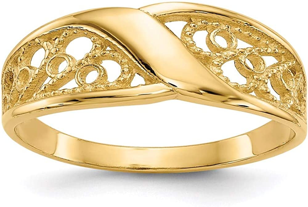 14k Yellow Gold Filigree Band Ring Size 6.00 Fine Jewelry For Women Gifts For Her