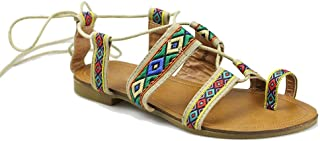 Women's Flat Gladiator Sandal Toe Ring Ankle Strap Cage Summer Dress Shoes