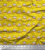 Soimoi Gelb Baumwolle Ente Stoff Pfote & Katze Kinder Stoff