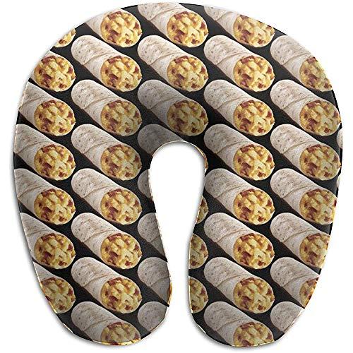 Weiches, bequemes Nackenkissen, U-förmiges Memory Foam-Kissen verhindert, DASS der Kopf nach vorne fällt, um eine Flugruhe für die Reise einzulegen - Taco Burrito Pattern Black