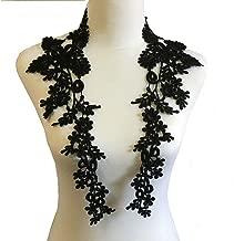 1 Pair Embroidery Applique Wedding Lace Floral Motif Sewing Trims Decoration (Black)