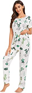SheIn Women's Cute Cactus Print Short Sleeve Tee and Pants Pajama Set Sleepwear