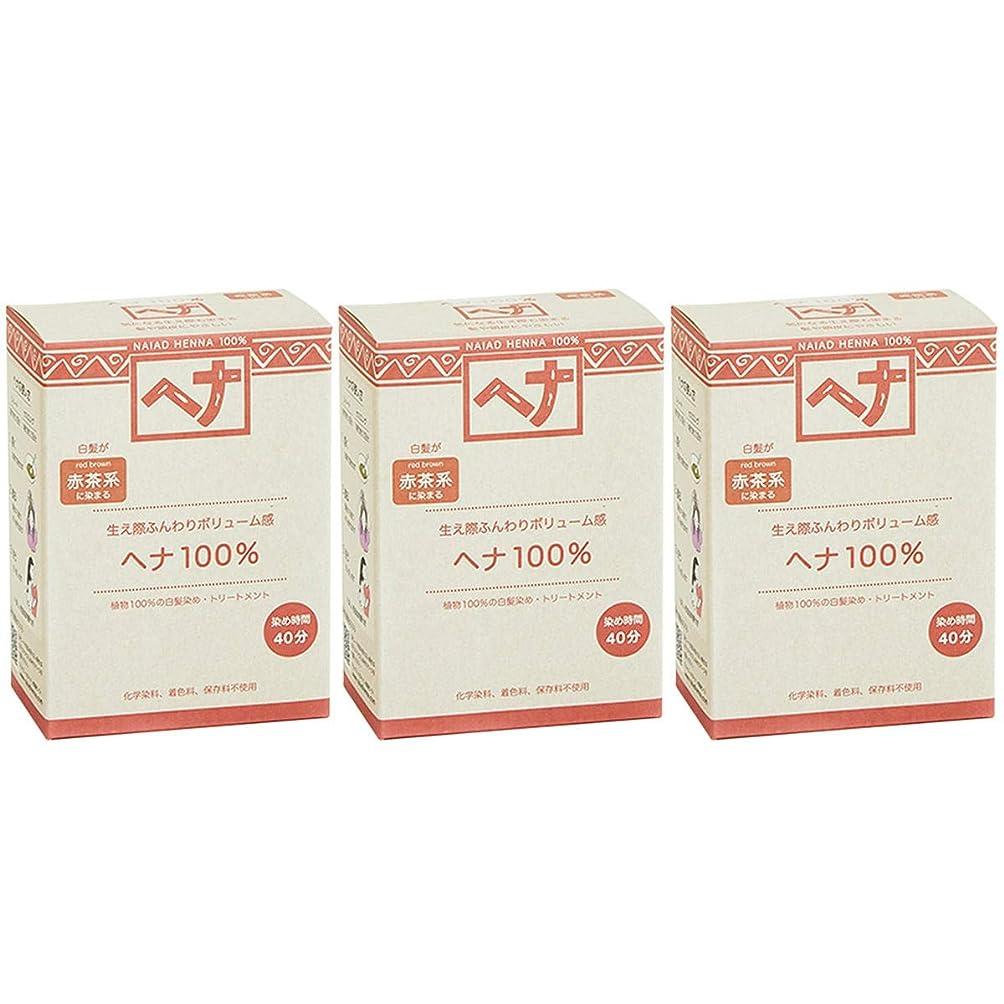 効能あるディスコ桁ナイアード ヘナ 100% 赤茶系 生え際ふんわりボリューム感 100g 3個セット 白髪染め 100%植物でつくられた自然素材