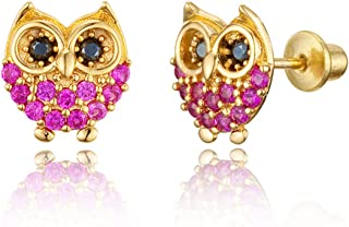 14k Gold Plated Brass Red Owl Cubic Zirconia Screwback Baby Girls Earrings with Sterling Silver Post