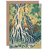 Hokusai Kirifuri Waterfall Mount Kurokami Shimotsuke Sealed Greeting Card Plus Envelope Blank inside 水