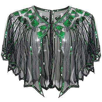 BABEYOND 1920s Shawl Wraps Sequin Beaded Evening Cape Bridal Shawl Bolero Flapper Cover Up  Black Green