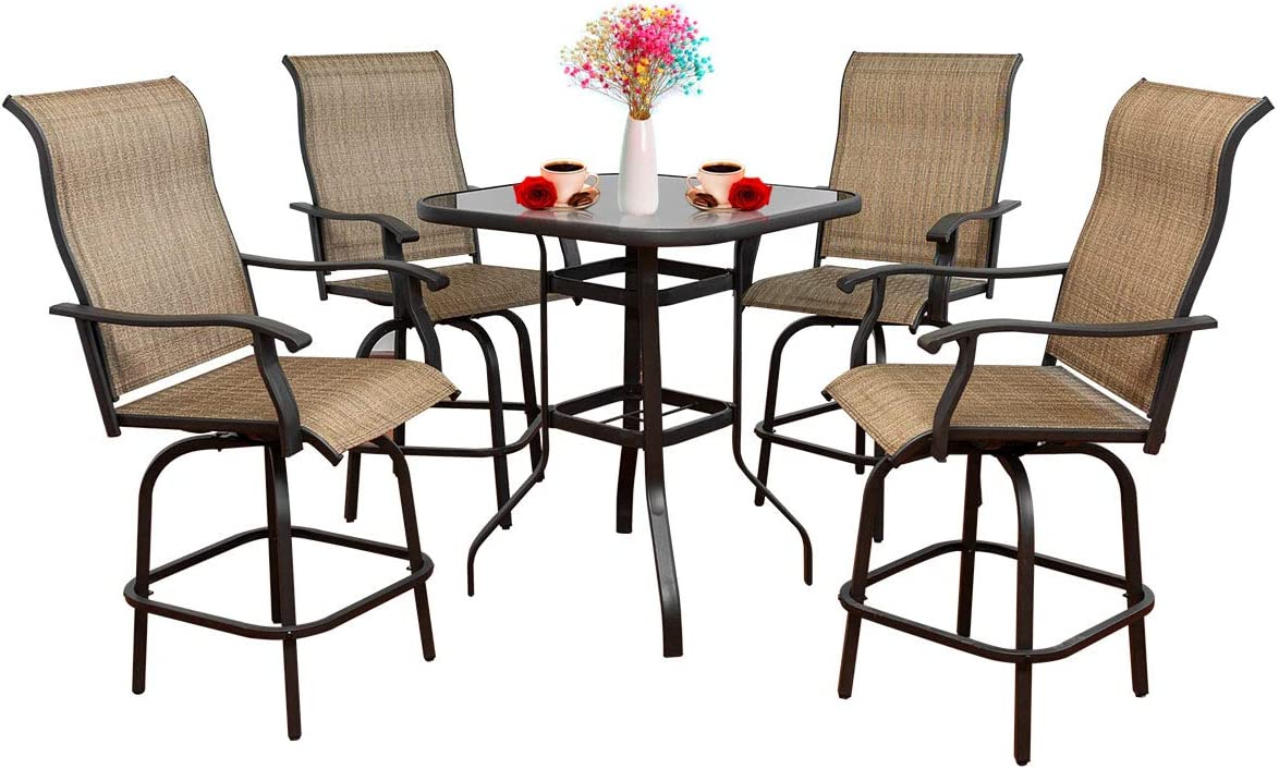 5 Pieces Swivel Bar Stools Set Outlet SALE Genuine Free Shipping Ch Patio Outdoor Rattan Furniture