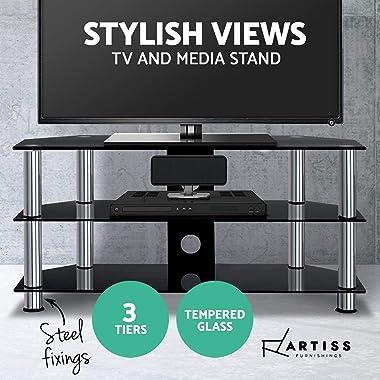 Artiss TV Stand Floor Standing 3-Tier Media Shelf Home Living Room Bedroom Office Cable Management 40KG Capacity Anti-Slip Fe