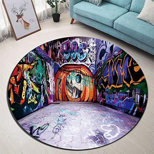 YSJJQSC Teppich Vintage Wandkunst Rundfläche Teppich Teppichboden für Wohnzimmer Memory Foam Schlafzimmer Kreis Kissen Badezimmer Bodentür Matte Startseite Einrichtung
