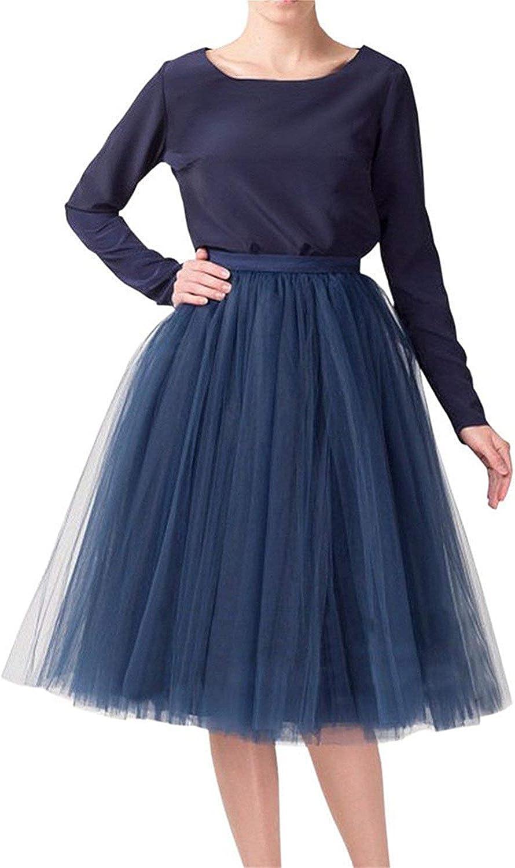 Women 5 Layers Tulle Skirt - Tea Length High Waist Bridal Midi Skirt Tutu forWedding Party Evening
