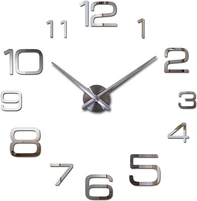 Anhon Acrylic Wall Clock Quartz Watch Living Room 3D Mirror Stickerslarge Decorative Clocks,Red,