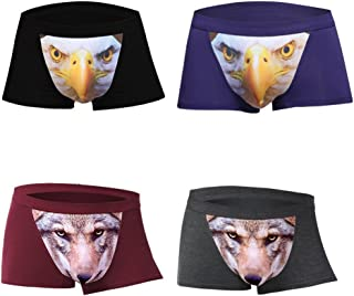 4-Pack Set Men's Seamless Basic Brief Stretchable Underwear 3D Printing, Sexy Hipster Wolf Animals
