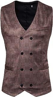 Mode Gilet Hommes Costume Veste sans Manches Business Casual Mariage MerryDate Gilet de Costume Homme Veste Imprim/é ray/é-Breasted Classique Gilets Parti Formal Waistcoat Suit Vest