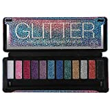 BYS Glitter Eyeshadow Palette, 12 Color Collection in Tin Kit with Mirror - Highly Pigmented Glittery Shade Eye Makeup