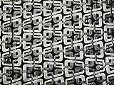 Geometrischer Brokat-Stoff, gewebt, metallisch, Schwarz &