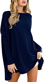 TUDUZ Blouse Women's Blouse Casual Round Neck Loose Long Sleeve Pullover Tops Blouse Medium Blue