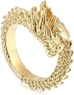 Daesar Stainless Steel Ring for Men Engraved Mens Rings Dragon Silver/Black/Gold Ring Men Vintage