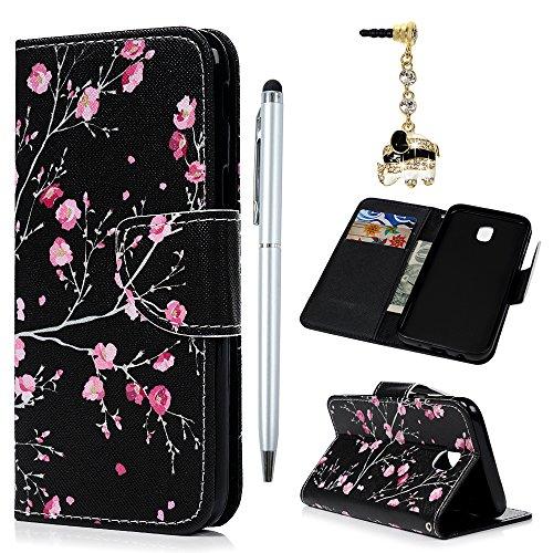 BADALink Hülle für Samsung Galaxy J5 2017 Rose Buntes Handyhülle Leder PU Cover Magnet Flip Case Schutzhülle Kartensteckplätzen und Ständer Handytasche mit Eingabestifte und Staubschutz Stecker