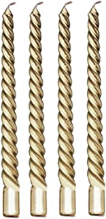 4Pcs 8inch Taper Twisted Spiral Long Candles for Dinner Dining Table Wedding Party Home Decor Candle Golden