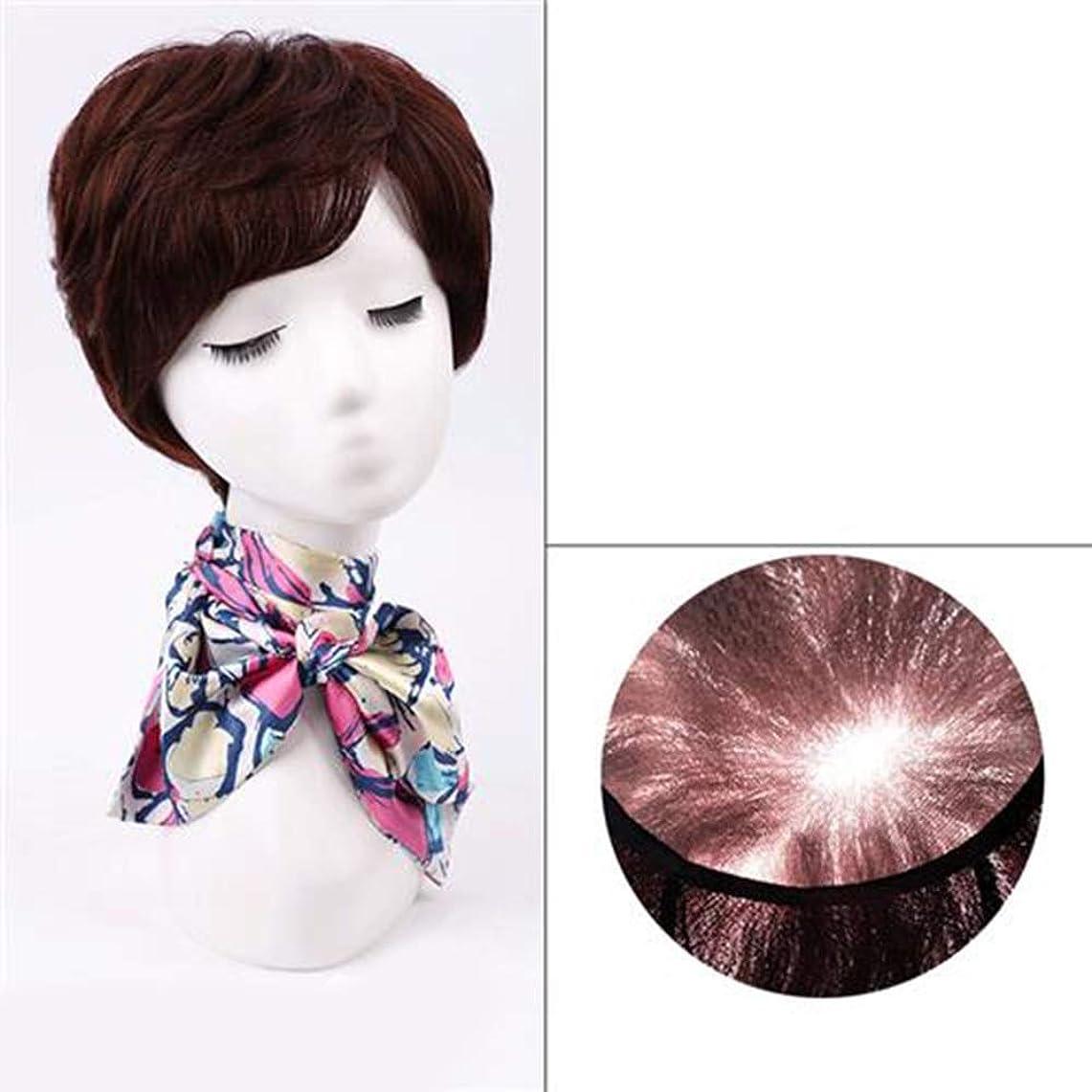 夢戦闘バッテリーYAHONGOE 女性のファッションかつらのための前髪付き天然毛エクステンション短く本物の髪のかつら (色 : Dark brown)