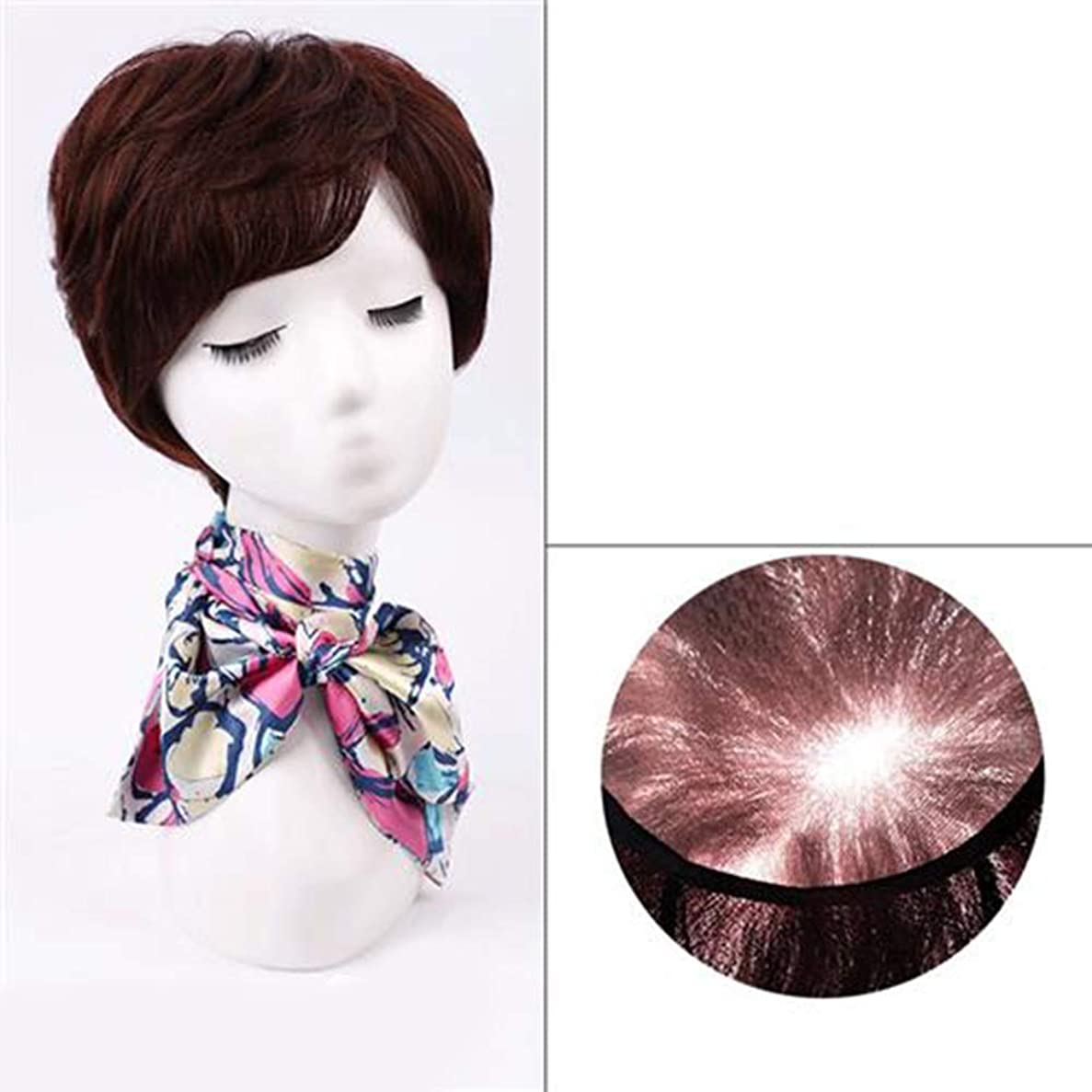拡張災害クリークYESONEEP 女性のファッションかつらのための前髪付き天然毛エクステンション短く本物の髪のかつら (Color : Natural black)
