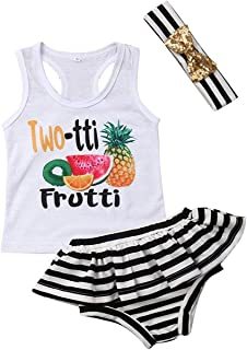 BOIZONTY Infant Baby Girls Sleeveless Fruit Vest Top Shirts+Striped Ruffled Shorts Bloomers Pant Headband Summer Outfit Set
