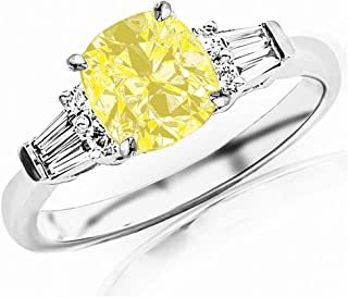 1.1 Carat t.w 14K White Gold Prong Set Round And Baguette Diamond Engagement Ring w/a 0.75 Carat Cushion Cut Yellow Diamond Heirloom Quality
