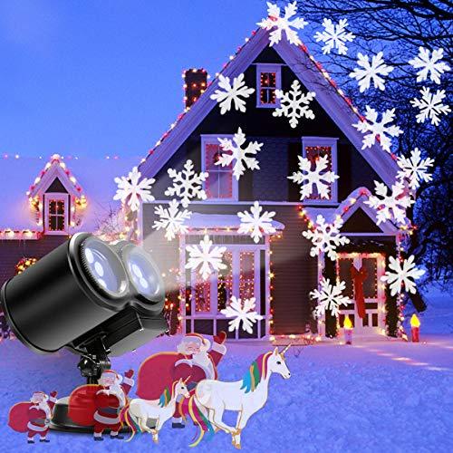Proiettori Natale Esterno/Interno, B-right Proiettore di Natale con Fiocco di Neve Bianco, Luce di Proiezione Impermeabile, per Natale, Giardino, Cortile, Balcone ecc.