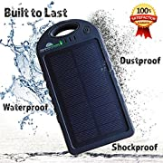 Solar Phone Charger with 12000 mah Power Bank, BONUS 2-in-1 Charge Cable & Case, Dual USB Solar Battery Charger, Waterproof Solar Charger for Emergency, Camping, Outdoor & Travel