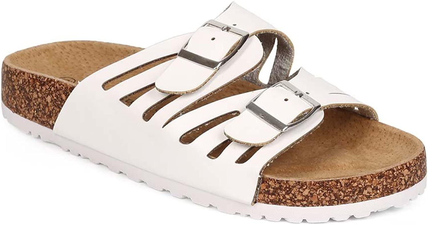 Nature Breeze EB65 Women Leatherette Open Toe Cutout Double Buckle Footbed Sandal - White