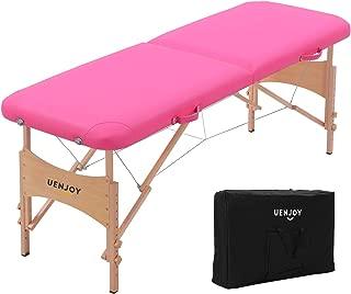 Uenjoy Massage Bed 72'' Professional Folding Massage Table 2 Fold, Basic & Portable, Pink