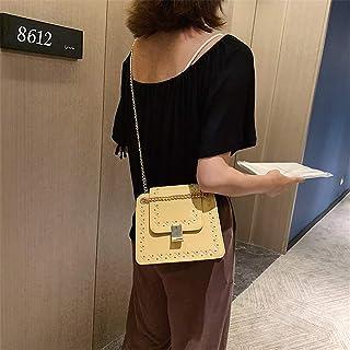 ZZZ Chain Shoulder Bag Fashion Ins Korean Version Of The Rivet fashion (Color : Yellow)