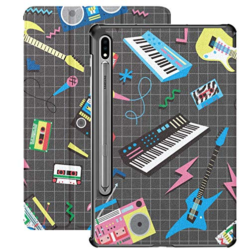Retro 80 S 90 S Instrumentos Musicales Funda para Tableta para Samsung Galaxy Tab S7 / s7 Plus Fundas para Samsung Galaxy Tab A Funda Trasera para Soporte Fundas para Samsung Galaxy Tab A para Galaxy