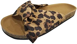 Cenglings Slides,Women Casual Bow Tie Flat Platform Sandals Leopard Print Slipper Rome Beach Shoes Flat Sandals