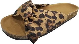 Slides,Women Casual Bow Tie Flat Platform Sandals Leopard Print Slipper Rome Beach Shoes Flat Sandals