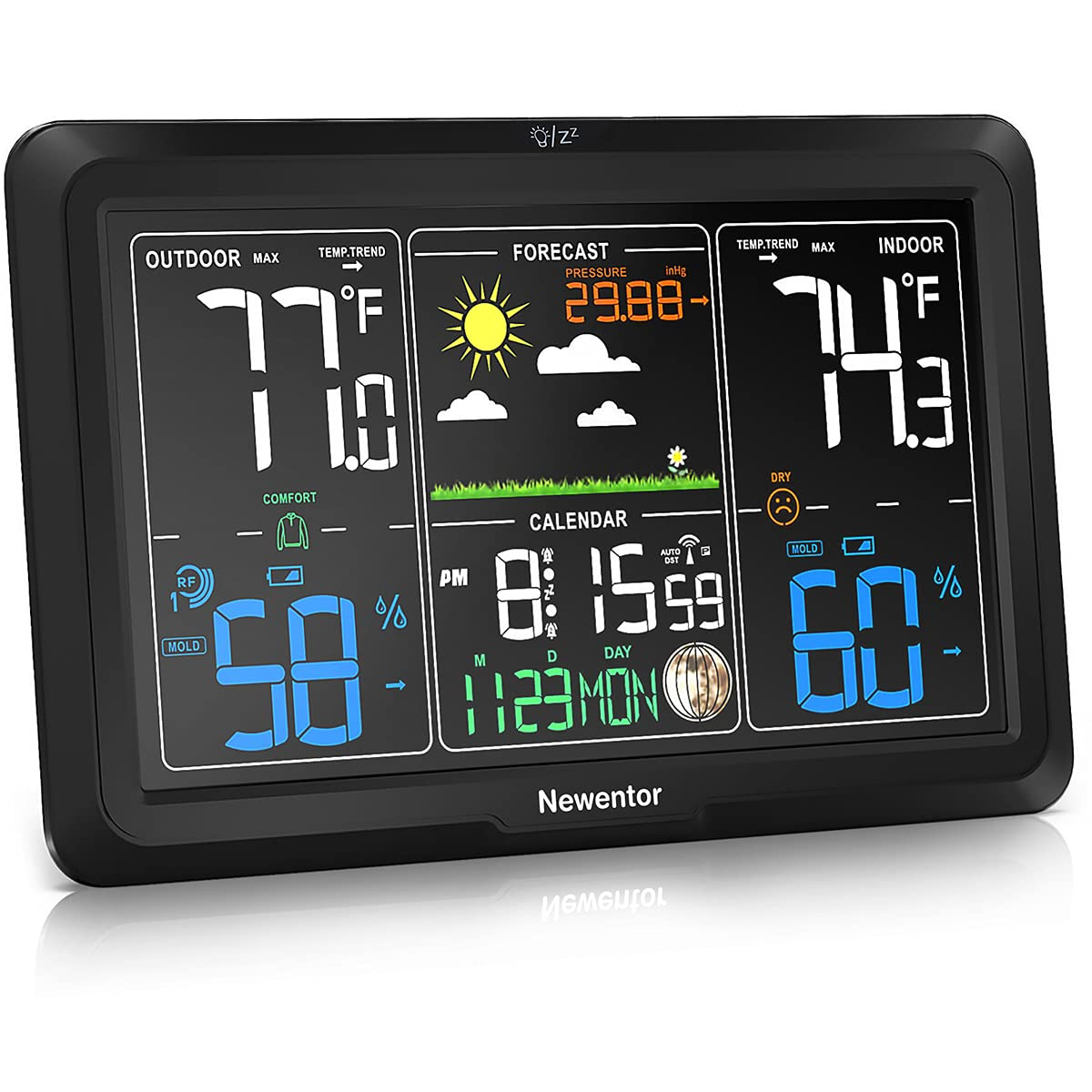 Newentor Weather Station Wireless Indoor Outdoor Thermometer, Atomic Clocks with Temperature Humidity, Large Color Display Weather Monitor with Calendar and Adjustable Backlight for Home