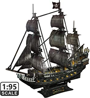 """CubicFun 3D Puzzles LED 26.6"""" Pirate Ship Sailboat Model Building Kits Toy for Adults and Teens, for Men Queen Anne's Revenge, 340 Pieces"""