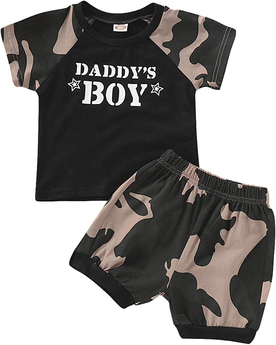 WonderBabe Toddler Boys Summer Clothes Cotton Camouflage Tee +Shorts Set Kids Short Sleeve Casual Outfit Set Top and Short Set (Black,3-4 Years)