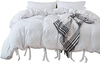 iAsteria Super Soft Duvet Cover Set, Lightweight Microfiber, Luxury Farmhouse Bedding Set, Modern Pattern Design, 3 Piece - King, White