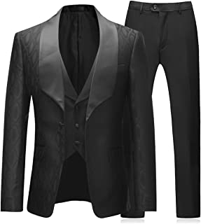 Mens 3 Pieces Tuxedos One Button Shawl Lapel Wedding Dress Suits Formalwear