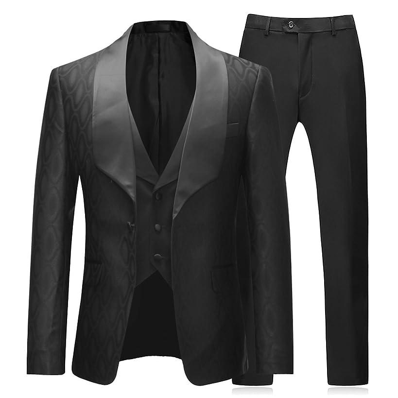 Boyland Mens 3 Pieces Tuxedos One Button Shawl Lapel Wedding Dress Suits Formalwear
