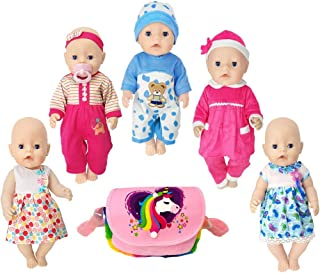 15 inch Baby Doll Clothes Include 5 Set Doll Clothes for Bitty Baby Dolls,16 Inch Newborn Baby Dolls,Baby Alive Dolls,18 Inch American Girl Dolls. (Pink)