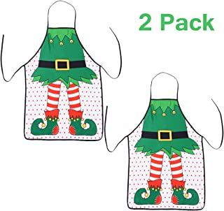TINGOR 2 Pcs Christmas Funny Flirty Apron, Cute Adjustable Kitchen Chef Bib BBQ Cooking Aprons for Adult,Holiday Kitchen Apron Funny Creative Thanksgiving