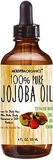 Jojoba Oil - Molivera Organics Premium Jojoba Oil 4 Fl Oz. 100% Pure Organic Cold Pressed Unrefined Best for Hair, Skin, Face & Nails – Great for DIY – UV Resistant Bottle–Satisfaction Guarantee