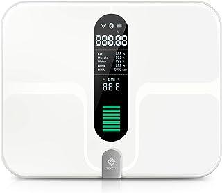 Etekcity Báscula Grasa Corporal Báscula de Baño Bluetooth Inteligente WiFi, USB recargable, Báscula Digital con 12 Funciones, Plataforma Extra Grande y Vidrio Conductivo ITO, 400 lb (180 kg), ESF00+