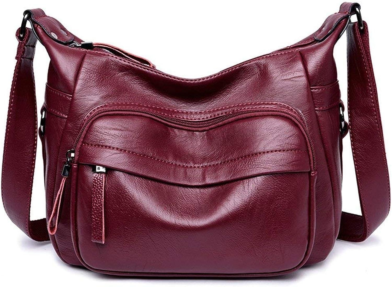 Eeayyygch Handtasche Shopping Einfache lässig Reißverschluss große Kapazität quadratische PU Umhängetasche Messenger Bag, Burgund (Farbe   -, Größe   -) B07JLZ561Q