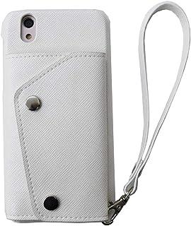 【ACHURA】 OPPO R15 Neo SIMフリー スマホケース 携帯ケース 直張り 合皮 PU素材 ホワイト 白 カード入れ スタンド機能 人気 男女兼用 保護 フィルム 付