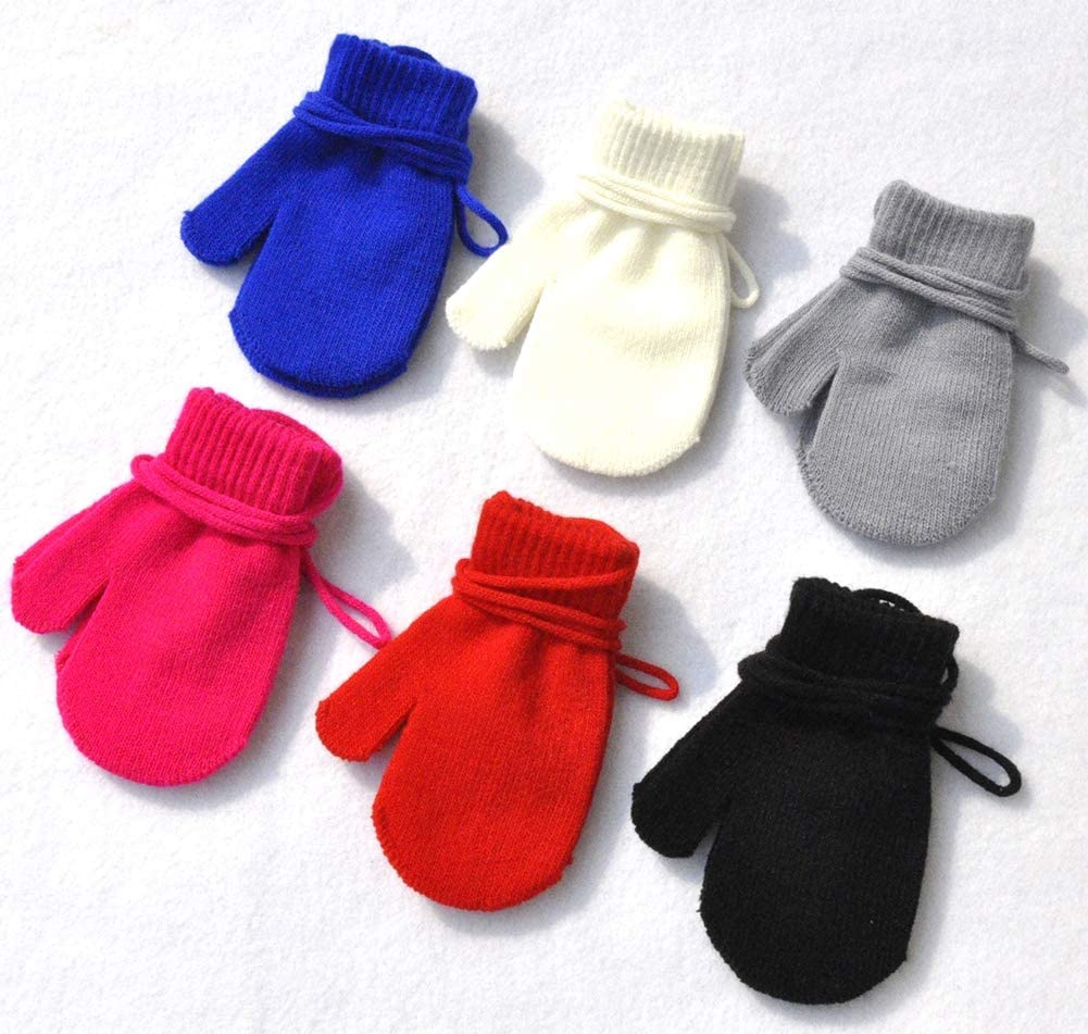 Black BaiX Baby Boys and Girls Solid Winter Knitted Mitten Gloves with String