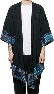 Men's Kimono Cardigan Cotton Linen Shawl Collar Poncho Cloak Open Front Cape